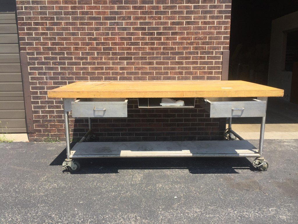 Wood Top Bakery Table With Stainless Steel Base Mb Food
