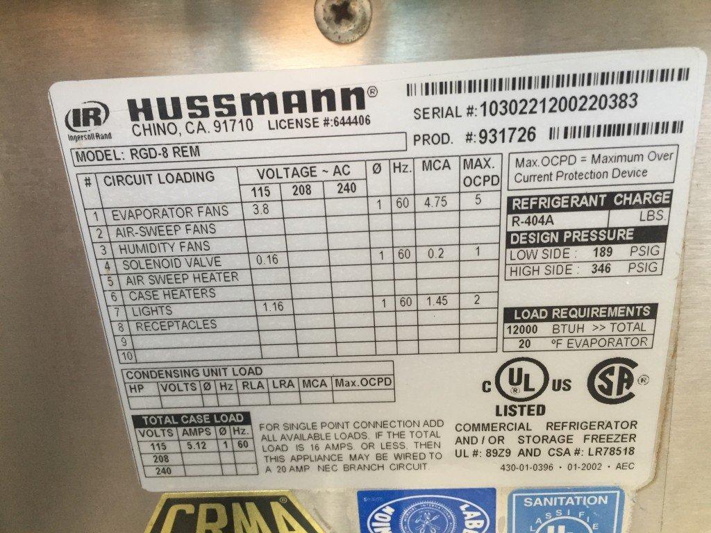 Hussmann Rgd 8 Rem Narrow Depth Multi Deck Air Curtain