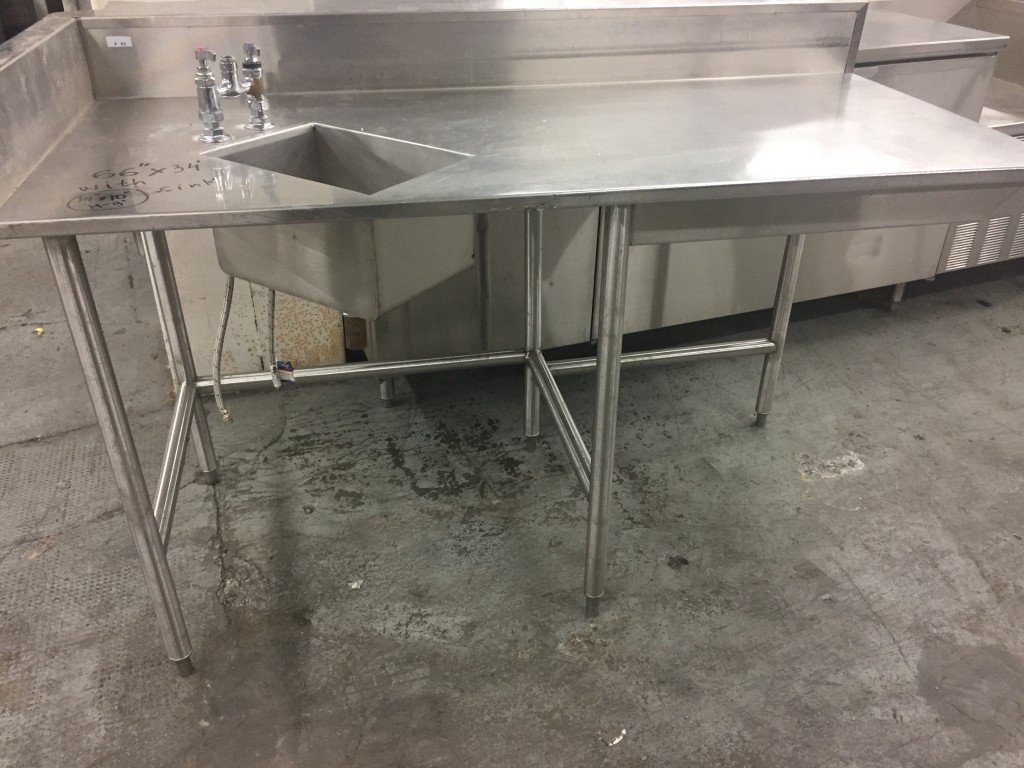 stainless steel table with left side